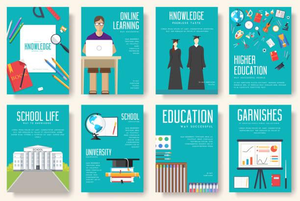 学校情報カード セットに戻る。学生のチラシ、雑誌、ポスター、ブックカバー、バナーのテンプレートです。大学教育のインフォ グラフィック コンセプトの背景。レイアウト イラスト現代 - 学校の文房具点のイラスト素材/クリップアート素材/マンガ素材/アイコン素材