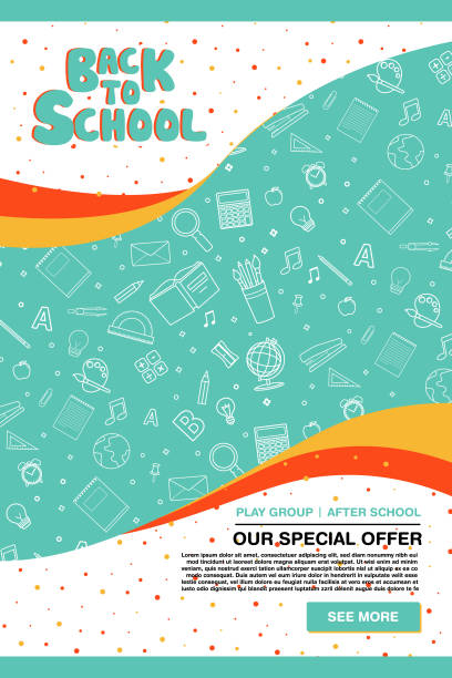 back to school information poster. - school background stock illustrations