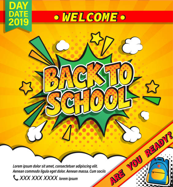 Back to school invitation banner. Back to school invitation banner with handdrawn lettering in comic boom explosion bubble on halftone background. Welcome poster for rducation design. Template for flyers, cards. Vector illustration. back to school stock illustrations