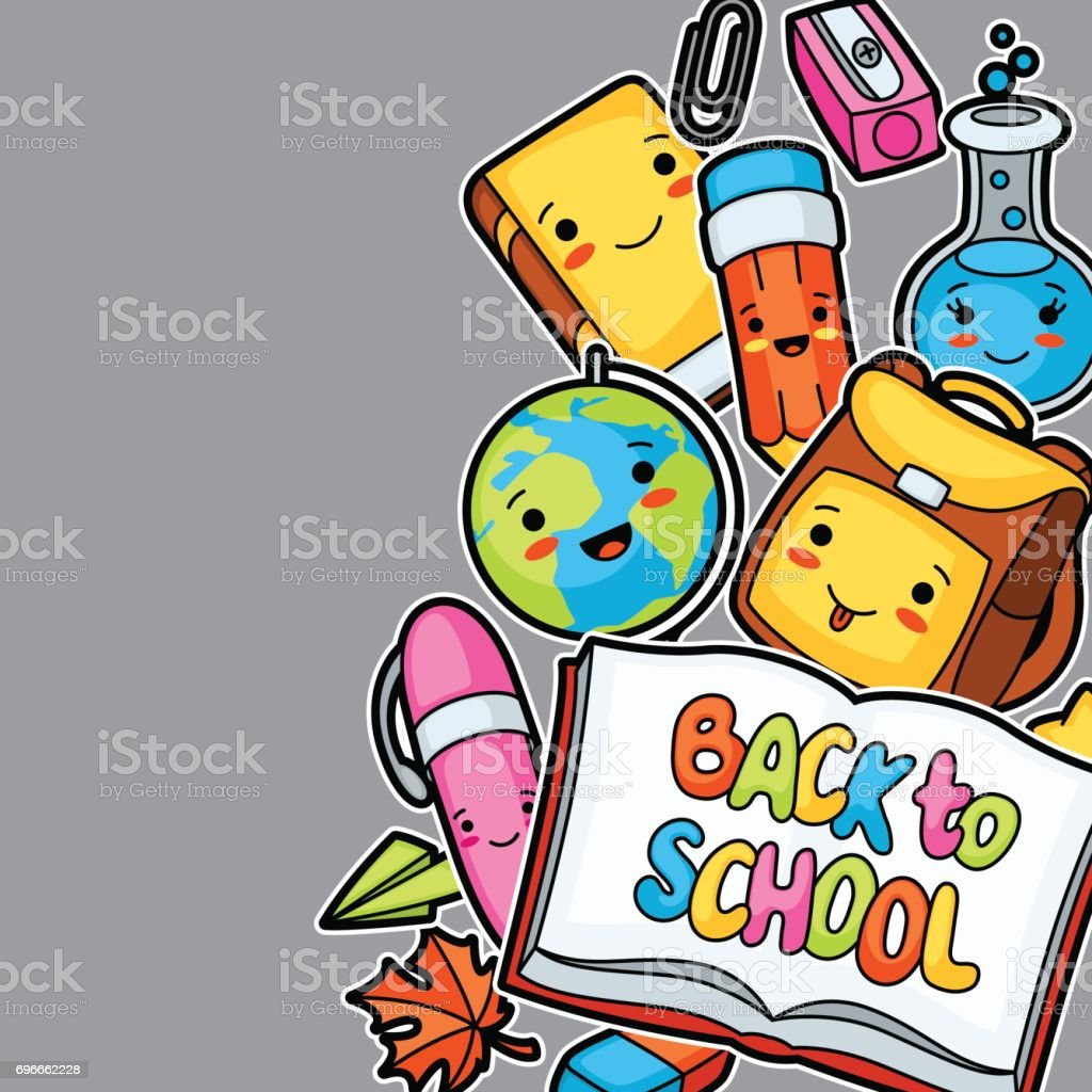 Back To School Kawaii Background With Cute Education Supplies Stock Illustration Download Image Now Istock