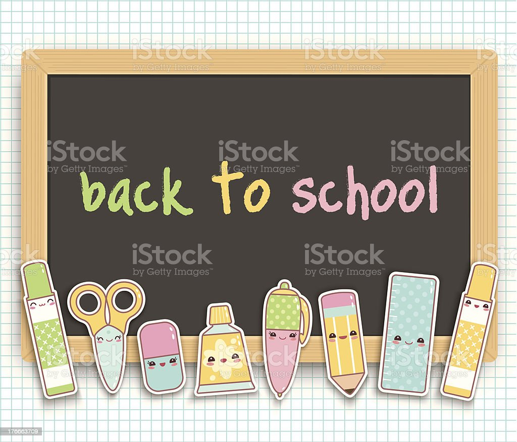 Back to school kawaii blackboard royalty-free back to school kawaii blackboard stock vector art & more images of art and craft equipment