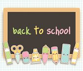 Back to school kawaii blackboard with cute original kawaii cartoon school items characters. Layered and groupped, high res. jpg included. Eps 10, transprency used for shadows. Please scroll down to see more similare images: