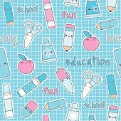 Seamless, repeating, Cute school pattern with happy kawaii carachters. Layered and groupped, high res. jpg included. Vector Eps 8, no transprency nor gradients used. Please scroll down to see my lightbox with more similar images: