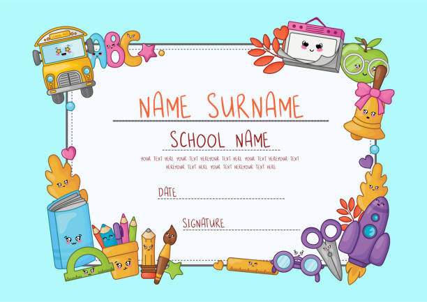 Back to School Kawaii Kawaii cartoon diploma for elementary school. Template with frame of cute school supplies - characters or objects and symbols on blue background - Vector garden center stock illustrations