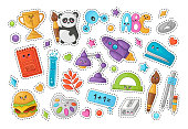 Set of stickers with kawaii school supplies, back to school or learning concept, cute cartoon characters - panda, rocket, schoolbook, hamburger, alphabet. vector flat illustration of education