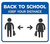 Back to school . keep your distance . covid-19 back to school Vector illustration Blue sign for post covid-19 coronavirus pandemic, covid safe economy and environment business concept