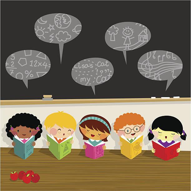 ilustrações, clipart, desenhos animados e ícones de voltar para a escola, crianças, saiba, biblioteca schoolboy aluna - aula de ciências
