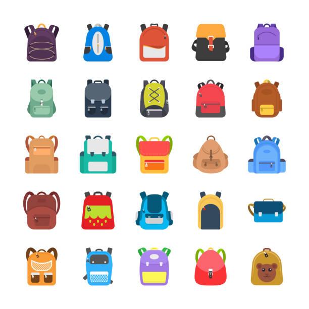Bекторная иллюстрация Back to School Kids School Backpack Flat Icons Set
