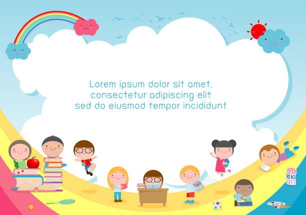 bildbanksillustrationer, clip art samt tecknat material och ikoner med tillbaka till skolan, barnen skola, utbildning koncept, barn och böcker, mall för reklam broschyr, din text, vektorillustration - förskola