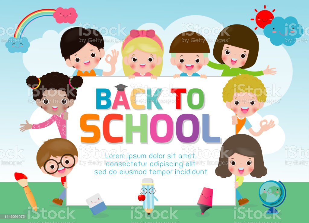 Back To School Kids School Education Concept Welcome Back To School Template For Advertising Brochure Your Textkids And Framechild And Framecartoon Happy Children Vector Illustration Stock Illustration Download Image Now Istock