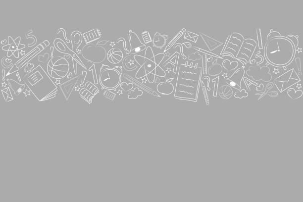 ilustraciones, imágenes clip art, dibujos animados e iconos de stock de regreso a la escuela - diseño de un cartel con accesorios incompletos nad copyspace. vector. - regreso a clases