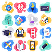 Back to school and learning skills liquid flat flow style concept symbols. Flat design vector icons set for infographics, mobile and web designs.