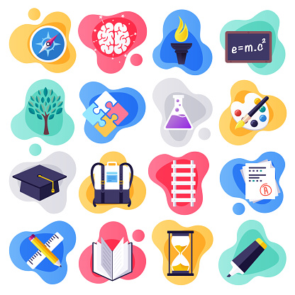 Back to School & Learning Skills Flat Liquid Style Vector Icon Set