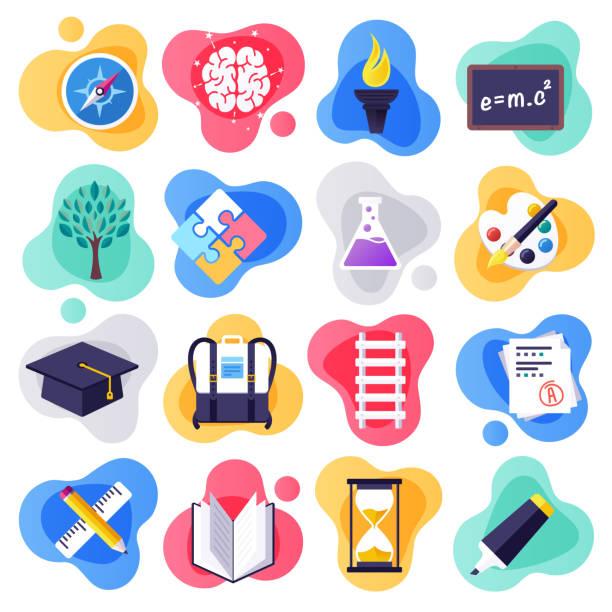 illustrations, cliparts, dessins animés et icônes de retour à l'école et compétences d'apprentissage plat liquide style vector icon set - niveau primaire