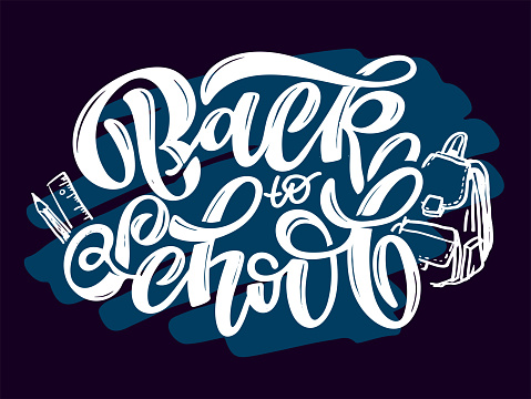 Back to school. Lettering hand drawn doodle label art. Calligraphic poster. Lettering for poster, banner, t-shirt design.
