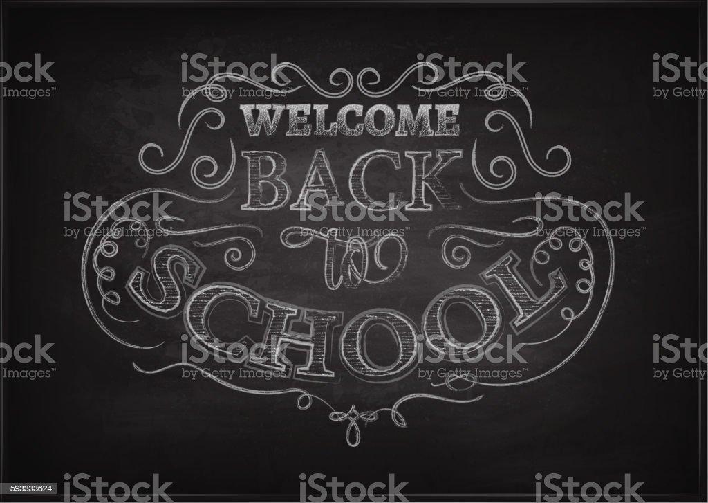 Back to school. Lettering on chalkboard. Eps10. Ornate chalk pattern. vector art illustration