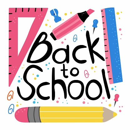 Back to school lettering. Phrase with pensil marker ruler, hand drawn kids supplies flat cartoon vector isolated illustration for discount labels flyers and shopping, banner or poster