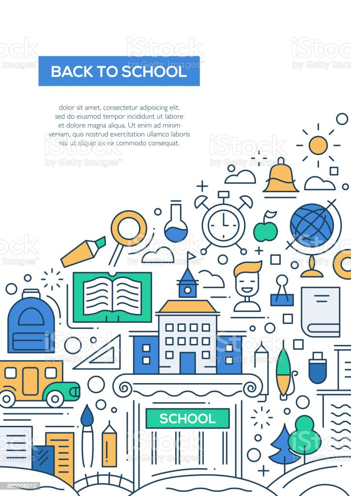 Back to School - line design brochure poster template A4 ベクターアートイラスト