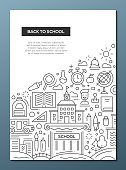 Back to School - line design brochure poster template A4