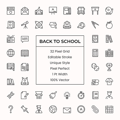 Back To School Line Icons