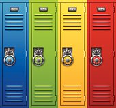Back to school combination lock lockers. Each color grouped for easy use. EPS 10 file. Transparency effects used on highlight elements.