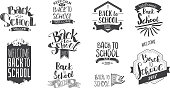 Welcome back to school label collection. School 2017 tags set. Back to school icons. Vector illustration. Hand drawn lettering badges. Typography emblems. Retro styled