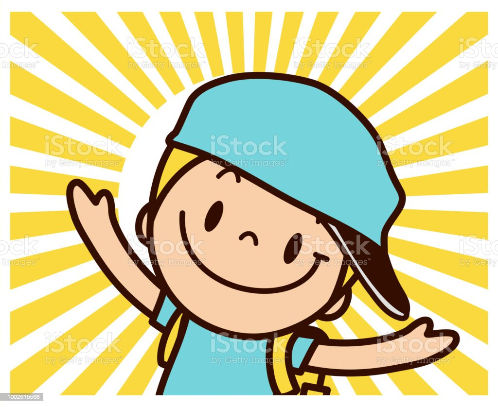 Back to school: One boy with big smile and cap and backpack embracing sunbeam vector art illustration