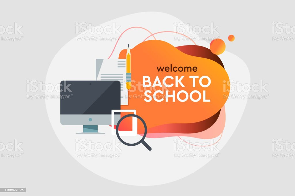 Back To School Online Education Dynamic Style Banner Design With Fluid Gradient Elements Creative Illustration For Poster Web Landing Page Cover Ad Greeting Card Social Media Promotion Stock Illustration Download Image