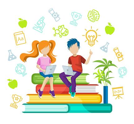 Back to School. Online education or e-Learning concept