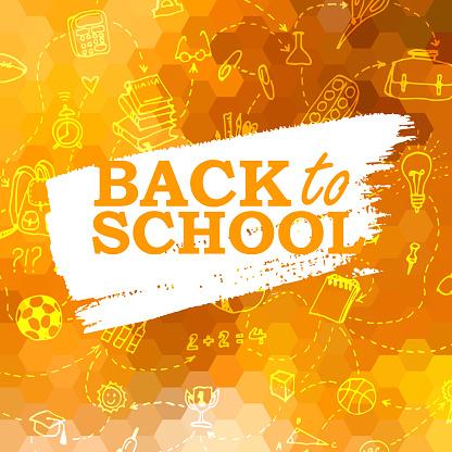 Back to school orange honeycomb background with school supplies doodle elements
