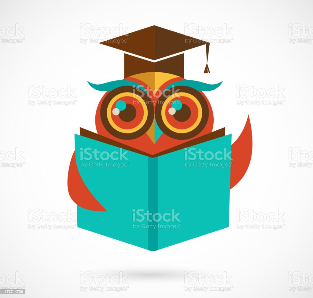 back to school owl with book and graduation cap, illustration royalty-free stock vector art
