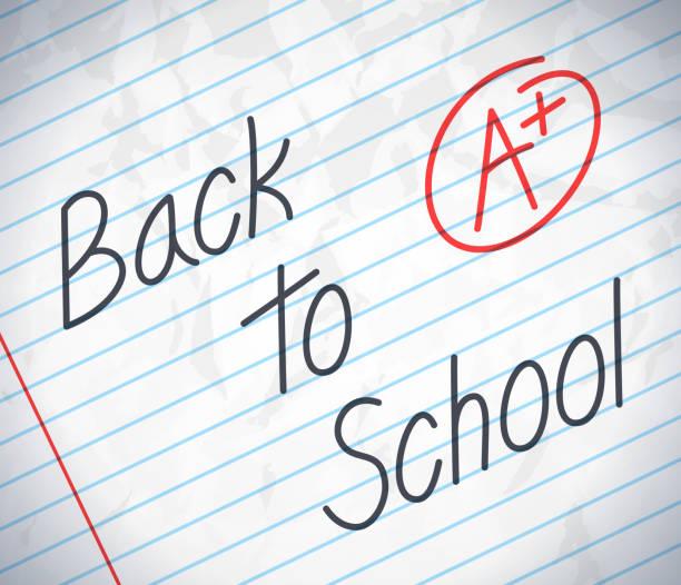 ilustraciones, imágenes clip art, dibujos animados e iconos de stock de a papel de la escuela - escuela media