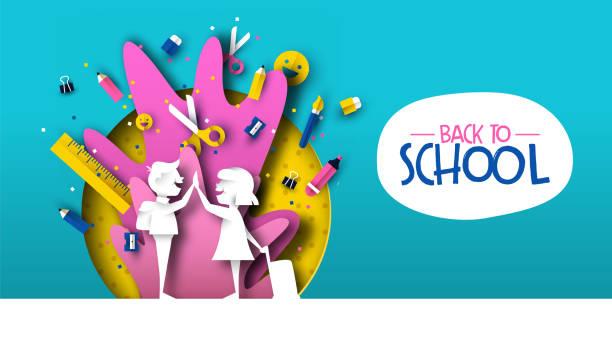 ilustraciones, imágenes clip art, dibujos animados e iconos de stock de volver a la escuela de papelcortado niños amigos y suministros - escuela media