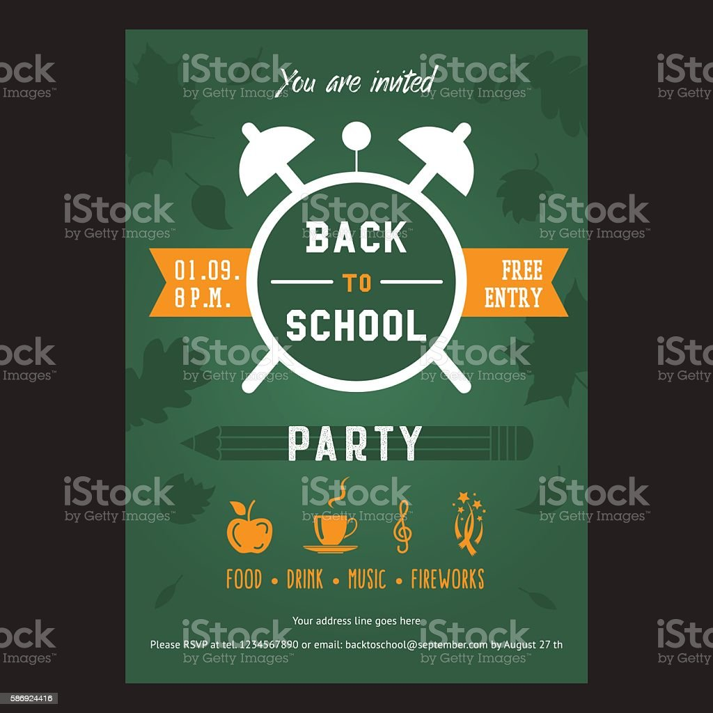 Back To School Party Invitation Card Stock Illustration - Download Image  Now - iStock