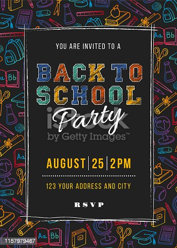 Back to School Party Invitation Template - Illustration