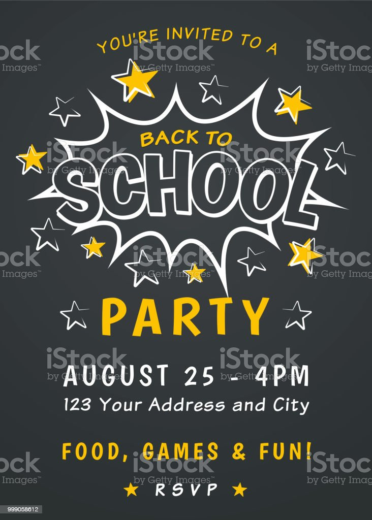 Back to school rules party invitation   back to school party.