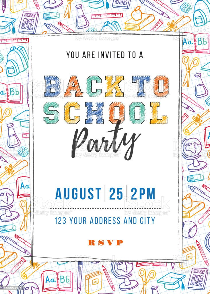 Back to School Party Invitation Template vector art illustration