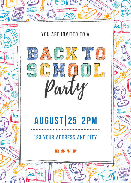 back to school party invitation template - primary school stock illustrations, clip art, cartoons, & icons
