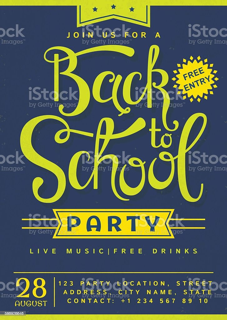 Back to School party invitation. vector art illustration