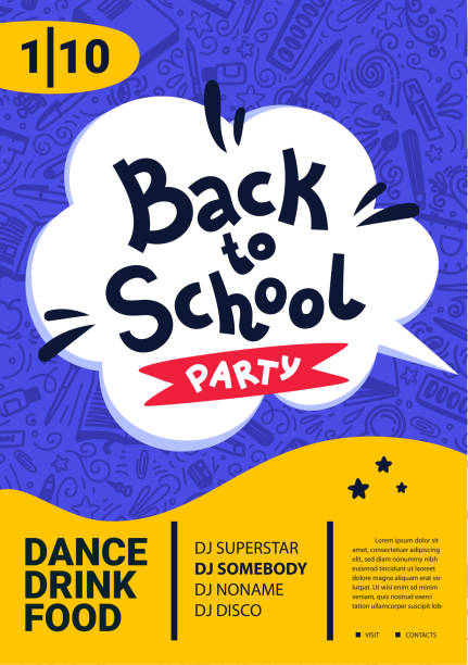 back to school party poster. back to school text, date and place for text. vector illustration - przedszkole stock illustrations