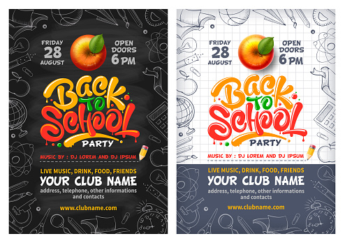 Back To School Party Poster Or Flyer With Red Apple And Lettering