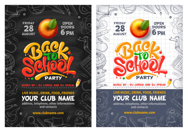 Back To School Party Poster Or Flyer With Red Apple And Lettering Back to School party posters with red apple and lettering Back to school. Handwritten school subjects in doodle style as frame around. Chalkboard and checkered paper on backdrop. Vector illustration. back to school stock illustrations