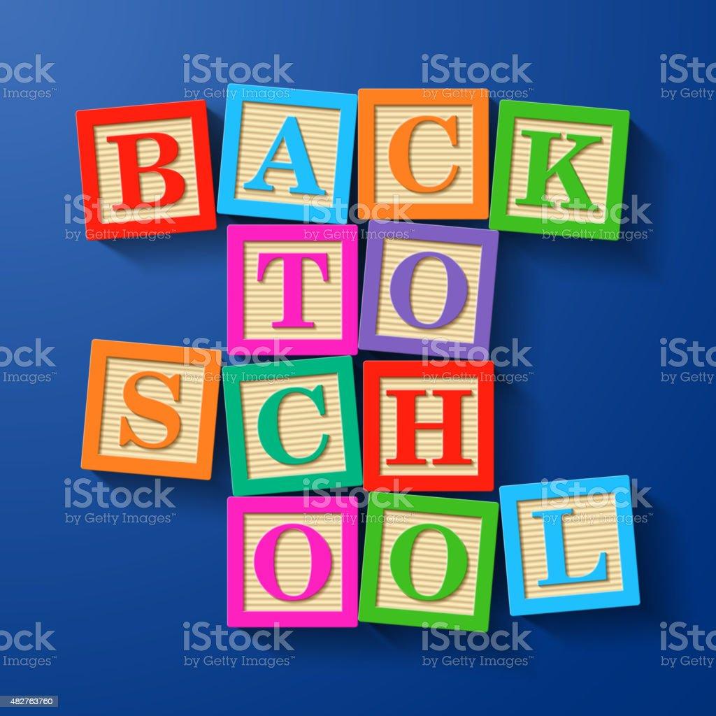 De vuelta a la escuela frase compilados con bloques de madera del alfabeto - ilustración de arte vectorial