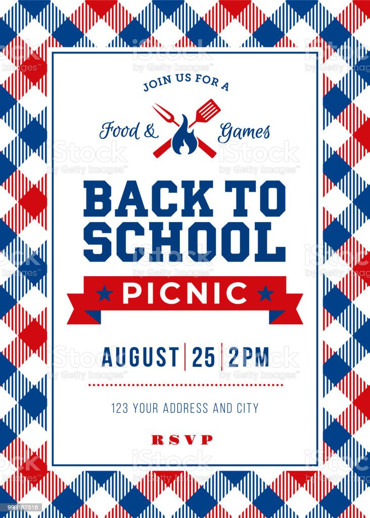 back to school picnic invitation template stock vector art more