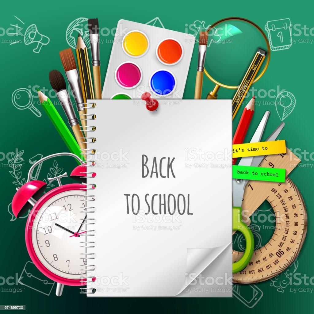 学校ポスター、カラフルな学校用品に戻る: 草紙、塗料、水彩画、ブラシ、鉛筆、定規、目覚まし時計、はさみ緑の背景に。ベクトルの図。EPS 10 ベクターアートイラスト