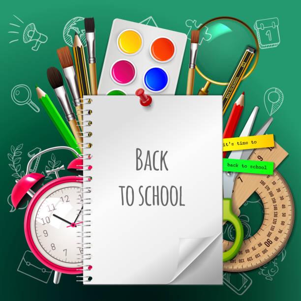 学校ポスター、カラフルな学校用品に戻る: 草紙、塗料、水彩画、ブラシ、鉛筆、定規、目覚まし時計、はさみ緑の背景に。ベクトルの図。eps 10 - 学校の文房具点のイラスト素材/クリップアート素材/マンガ素材/アイコン素材