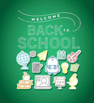 Back to school poster design with icon elements