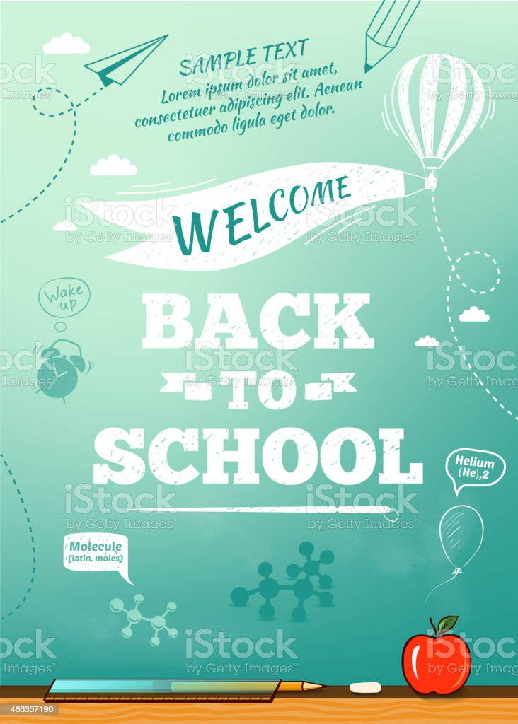 Back to school poster, education background. Vector illustration vector art illustration