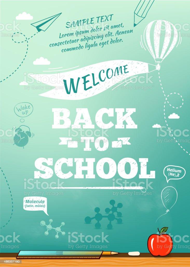 De vuelta a la escuela póster, la educación de fondo. Ilustración vectorial - ilustración de arte vectorial