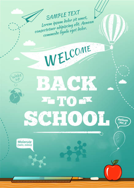 back to school poster, education background. vector illustration - back to school 幅插畫檔、美工圖案、卡通及圖標